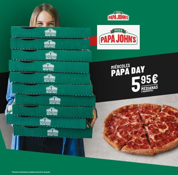 Miércoles Papa Day John´s - Pizzas medianas de 3 ingredientes a 5,95.