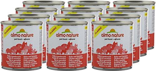 Pack de 12 Almo Naturaleza HFC Natural – Comida para gatos de Pollo y camarones de 280 g de Lata.