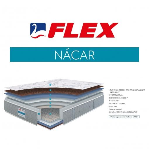 -50% DESCUENTO - Colchón de Muelles Multielástic® con Visco FLEX Nácar 105x182 cm