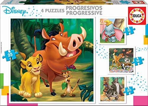 Puzzles Progresivos Dumbo, Bambi, Lion King, El Libro de la Selva,