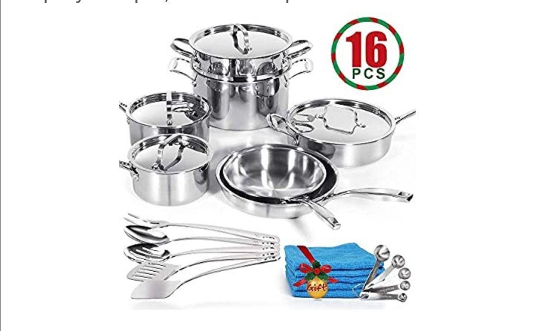 Masthome - Batería de Cocina de 11 Piezas de Acero Inoxidable