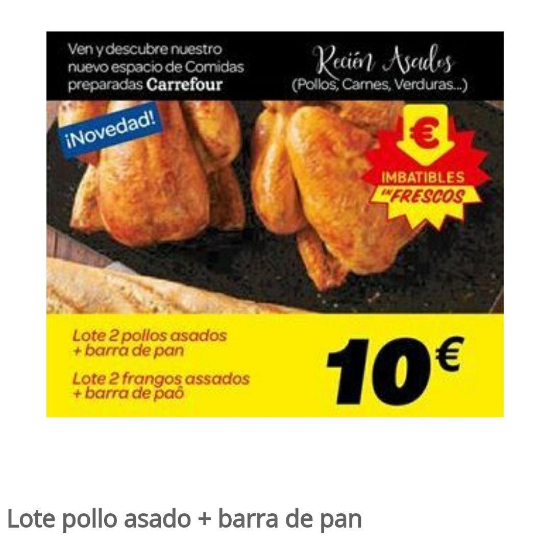 Lote De 2 Pollos Asados+Barra De Pan en Carrefour