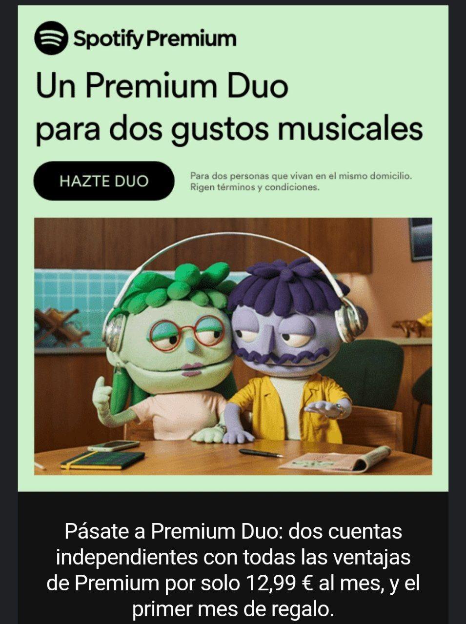 Spotify Premium Duo a 12,99€ entre 2 personas