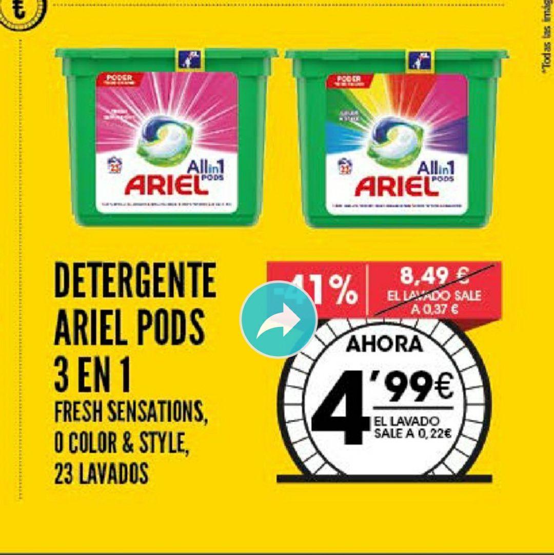 DETERGENTE ARIEL PODS 3 EN 1 (23 lavados)