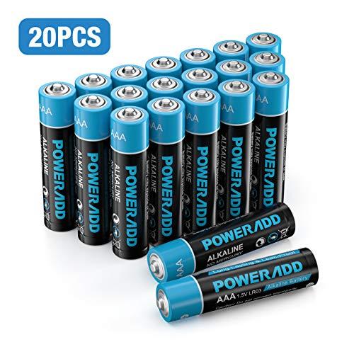 Poweradd 20 Pilas Alcalinas AAA Baterías LR03 de 10 Años Larga Duración