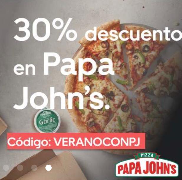 30% descuento en Papa John's