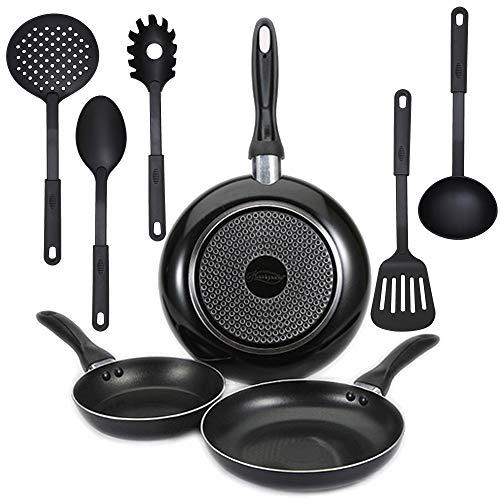 Juego de 3 sartenes San Ignacio (Ø16,20,24cm) en aluminio prensado, inducción, y 5 utensilios de cocina en nylon