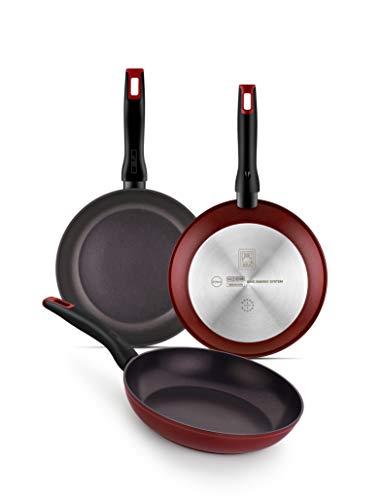 Set de 3 sartenes aluminio forjado 20-24-28 cm BRA Red Diamond, aptas para todo tipo de cocinas