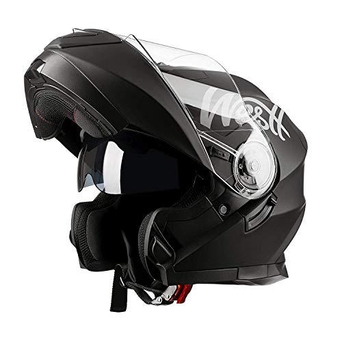Westt Torque X - Casco De Moto Modular con Doble Visera - Negro Mate