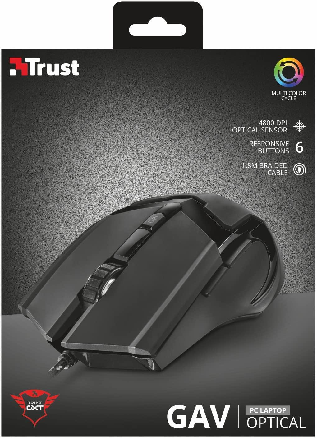 Trust GXT 101 - Ratón Iluminado para Gaming (4800 PPP)