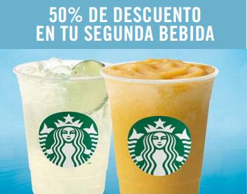 50% de descuento en tu segunda bebida Starbucks