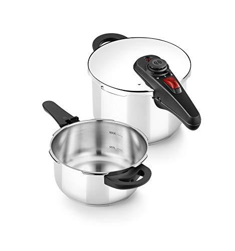 BRA Allure Set dúo de ollas a presión rápida 4+6 litros, acero inoxidable, apta para todo tipo de cocinas, incluido inducción
