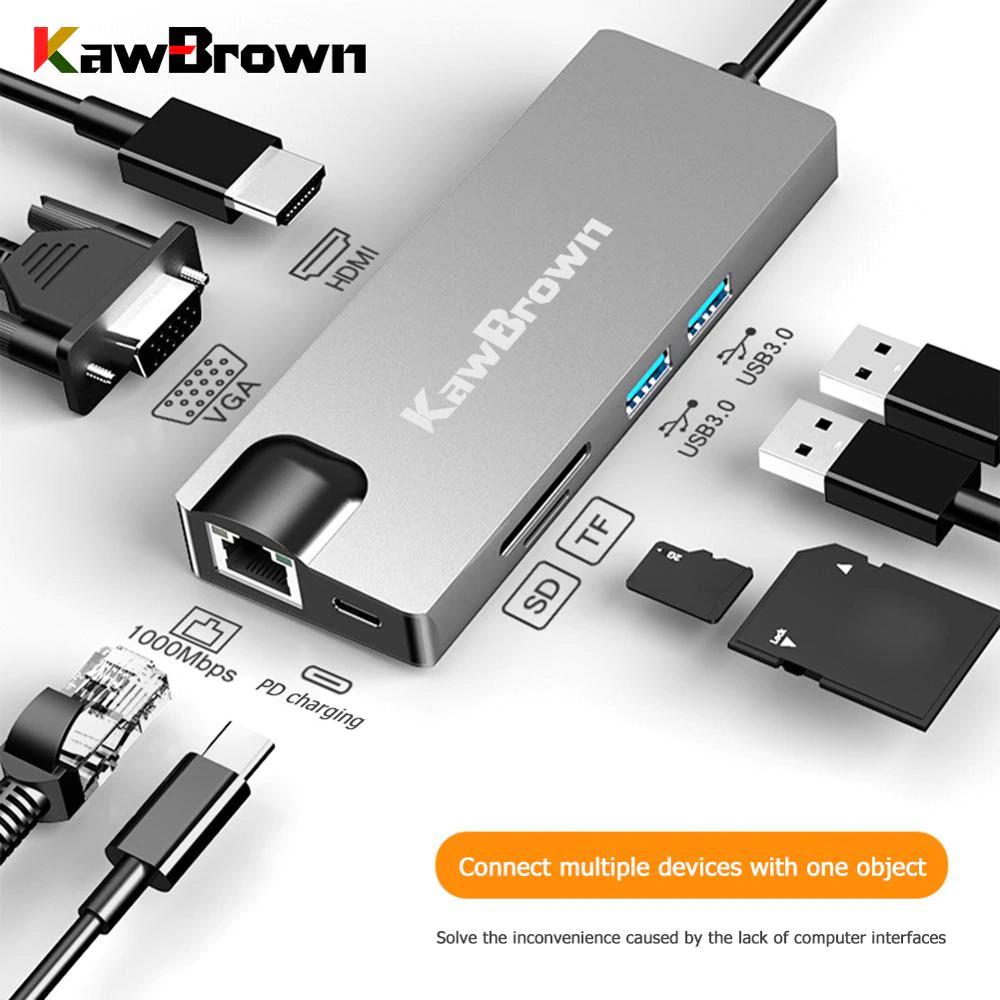 KawBrown 8 en 1 Tipo C Hub
