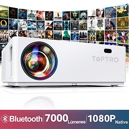 Proyector Bluetooth, TOPTRO 7000 Lúmenes Proyector Full HD 1080P Nativo 1920x1080 Soporta 4K