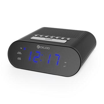Reloj despertador con pantalla digital y radio fm