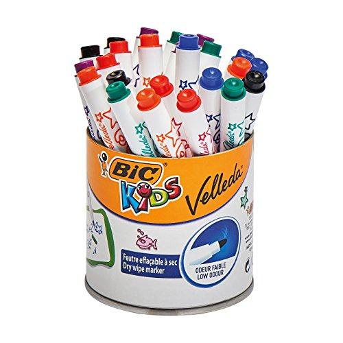 BIC Kids Mini Velleda - Rotuladores Pizarra Blanca Punta Fina, Pote de 24 unidades (precio al tramitar)