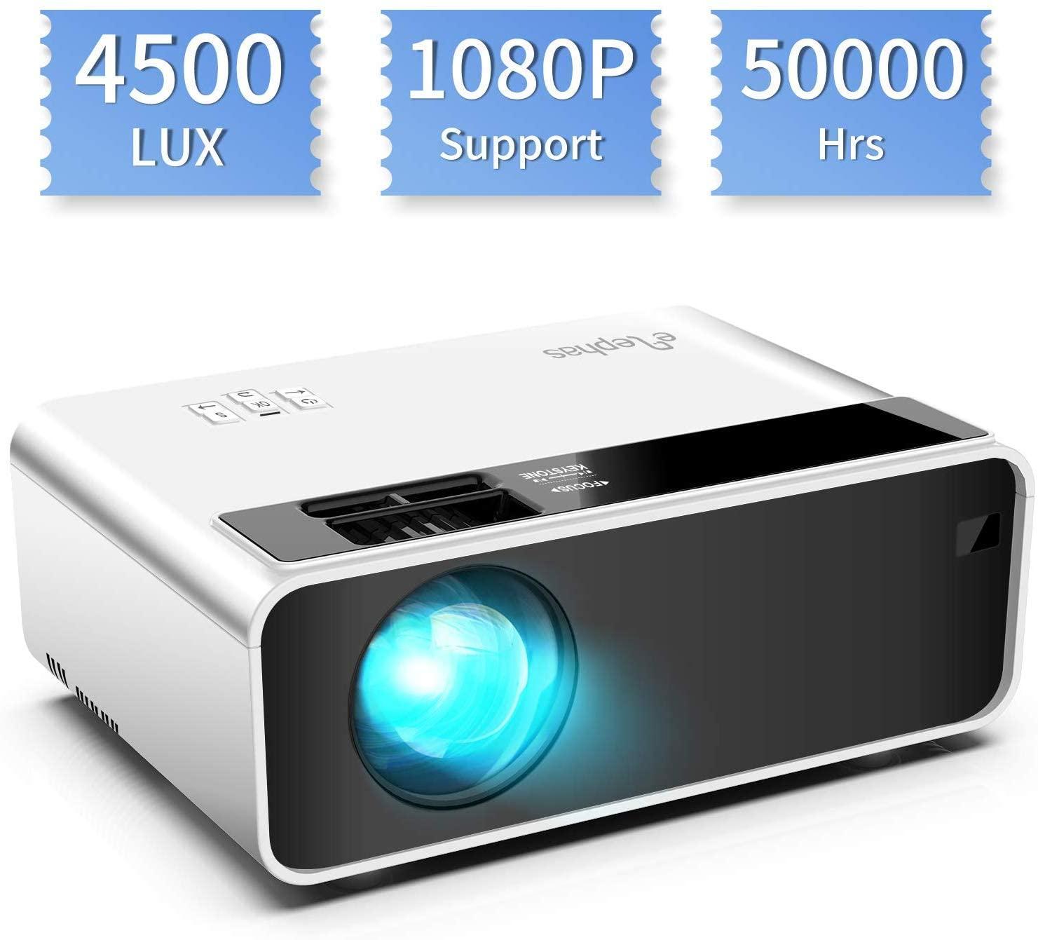 Mini proyector, ELEPHAS Video Proyector 4500 Lux Proyector de Cine en casa portátil LED de Larga duración 1080P