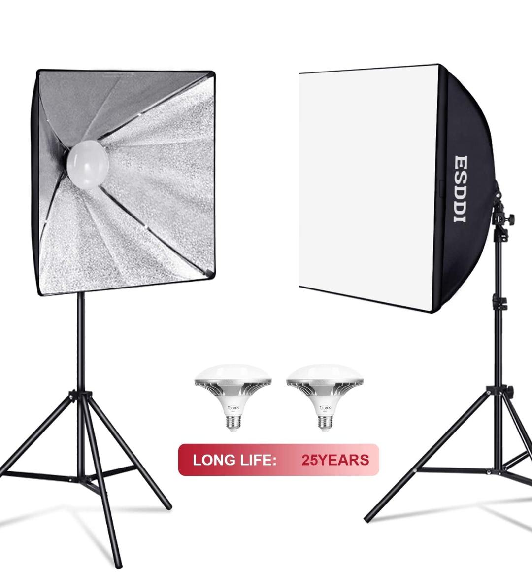 Kit con 2 Bombillas de Luz 900W, 2 Softbox 50x70cm, 2 Tripodes Luz Continua para Estudio Fotográfico