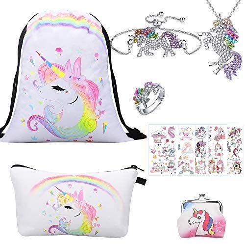 Bolsa unicornio + neceser + monedero + colgantes y anillo + pegatinas
