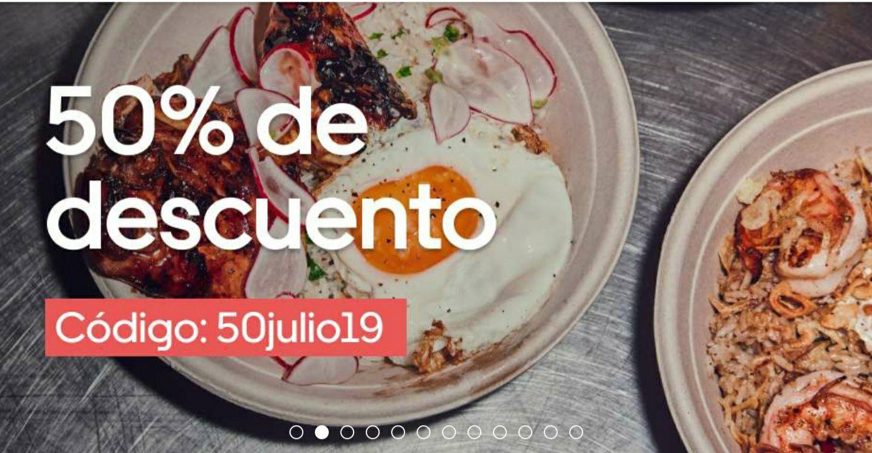50% de descuento en Uber Eats. Valencia, Alicante y Murcia.