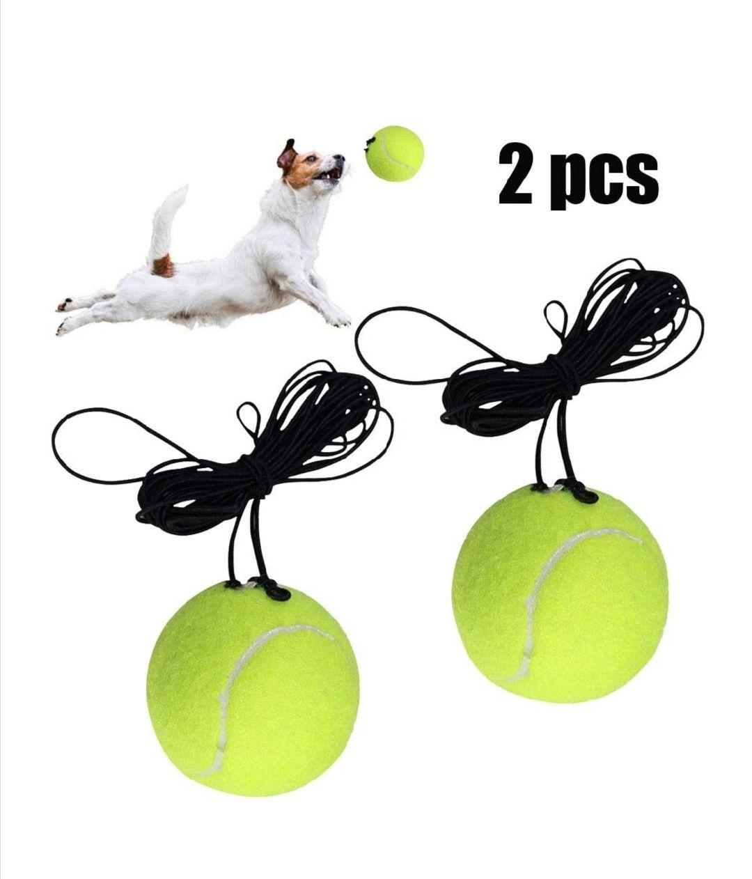 2 pelotas de tenis con cuerda