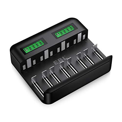 EBL Cargador de batería de Ni-MH AA AAA C D, Universal Carga Rápida con Tipo C/Micro USB, Pantalla .