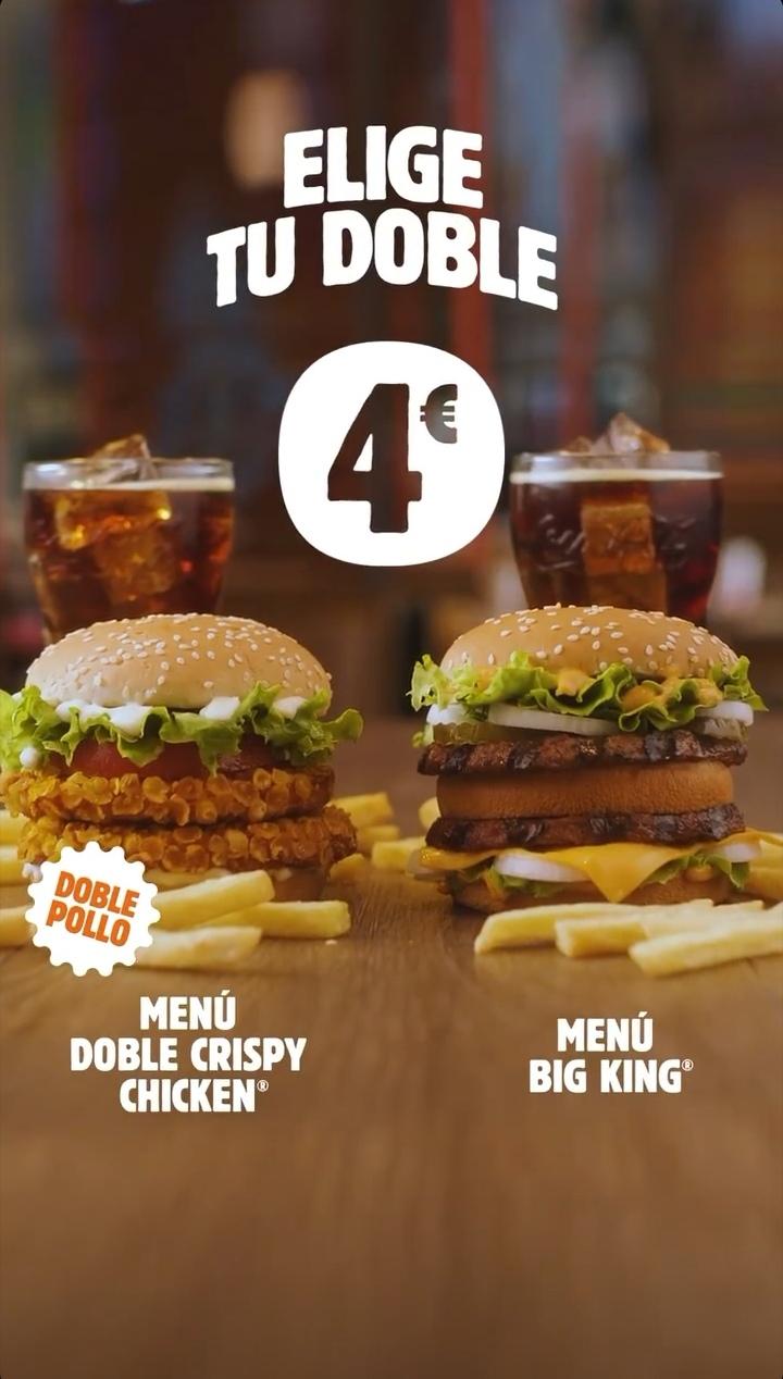 Menú Big King o Doble Crispy Chicken por 4 euros
