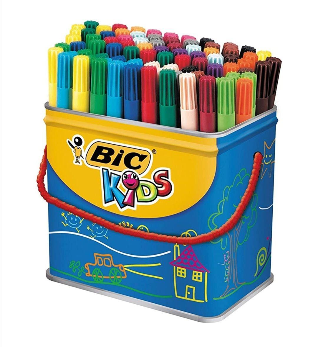 BIC Kids Visa rotuladores punta fina - colores Surtidos, Cubo de 84 unidades (descuento al tramitar)