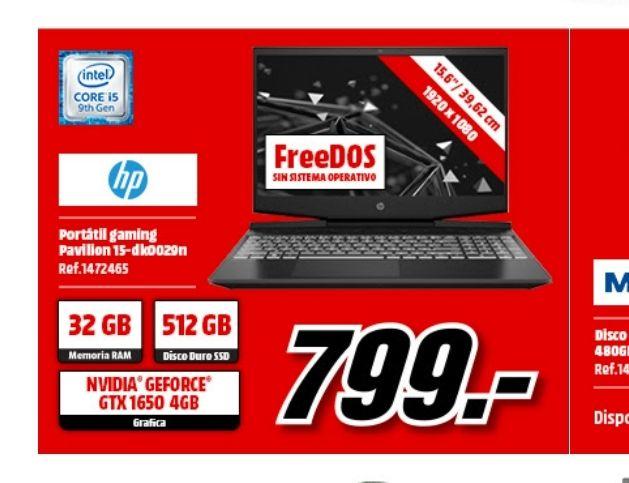 "Portátil HP Pavilion 15.6"" FHD, i5-9300H, 32GB, 512GB SSD, GTX1650, FDOS"