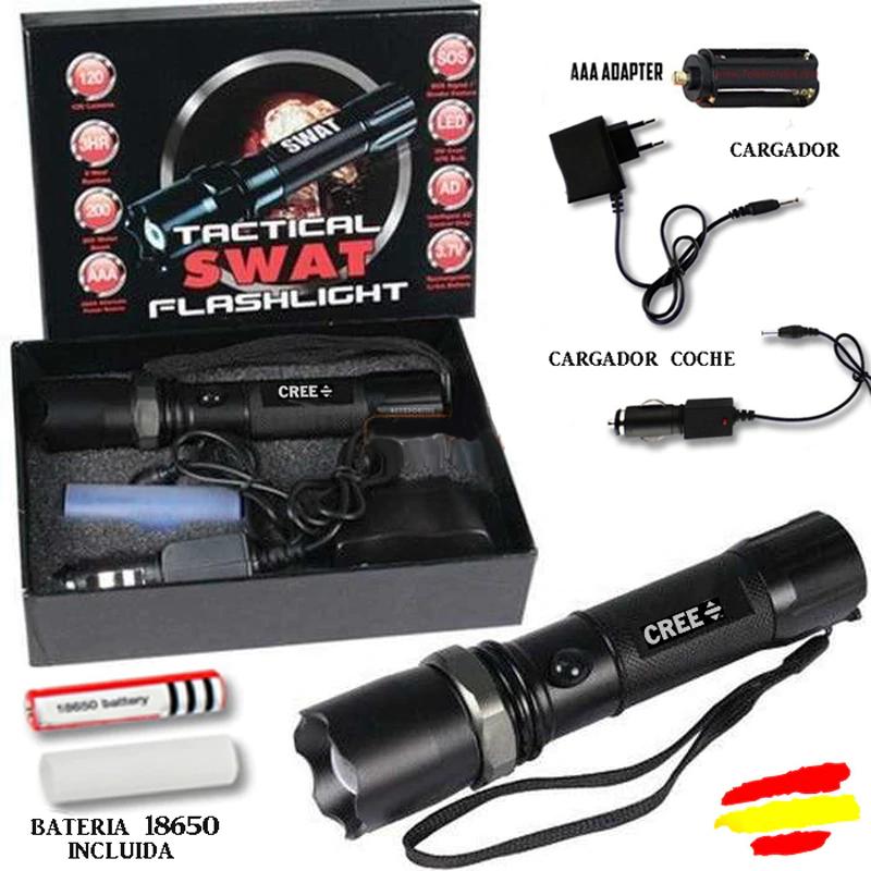 LINTERNA TACTICA 5000 Lm CREE LED SWAT Bateria 18650 mAh cargador 3,7V ZOOM