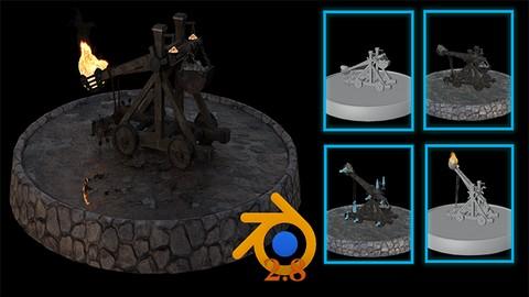Blender 3D Modela una catapulta medieval [UDEMY, ingles]
