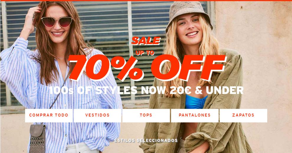 Rebajas Topshop 70% de descuento en moda veraniega.