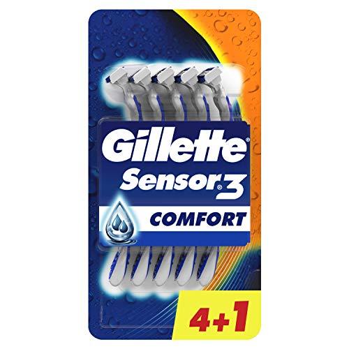 Gillette Sensor3 - Maquinilla desechable para Hombre, Hasta 10 Cómodos Afeitados por Maquinilla, 4+1 Uds