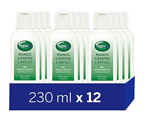 Hygen-X Gel Hidroalcohólico Desinfectante para Manos 230 ml - Paquete Familiar de 12 Piezas