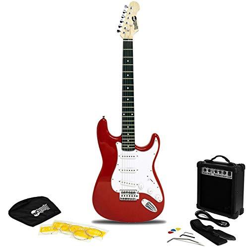 RockJam Superkit de guitarra eléctrica de tamaño completo con amplificador de guitarra, Cuerdas, Correa, Bolsa y cable de guitarra.