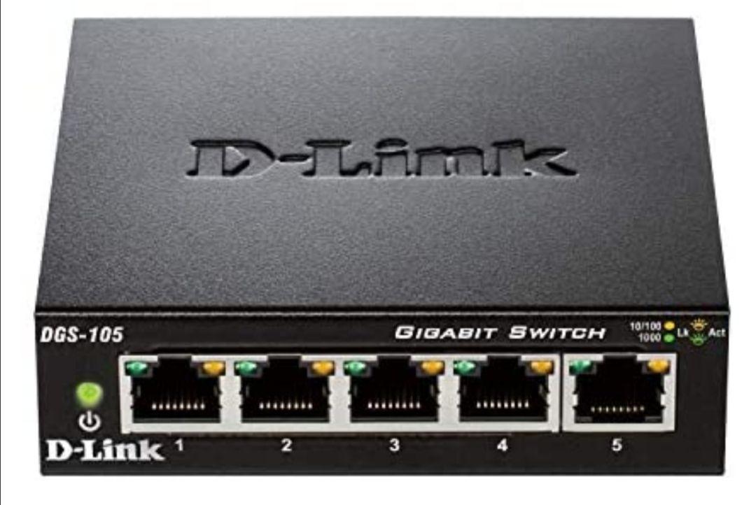 D-Link DGS-105 - Switch de red (5 puertos Gigabit RJ-45, 10/100/1000 Mbps, chasis metálico, IGMP snooping, autosensing)