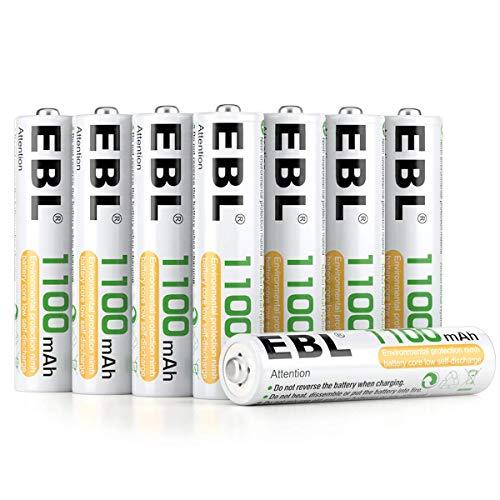 Pilas AAA recargables EBL 1100 mAh (1200 ciclos - 8 unidades) con estuche plástico