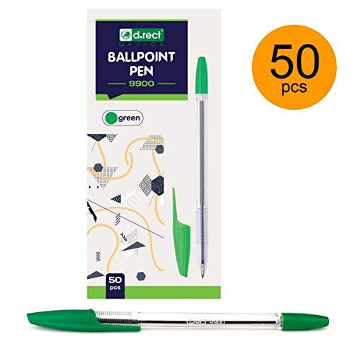 (50 unidades) Bolígrafo de punta redonda color verde marca: D.RECT 9900