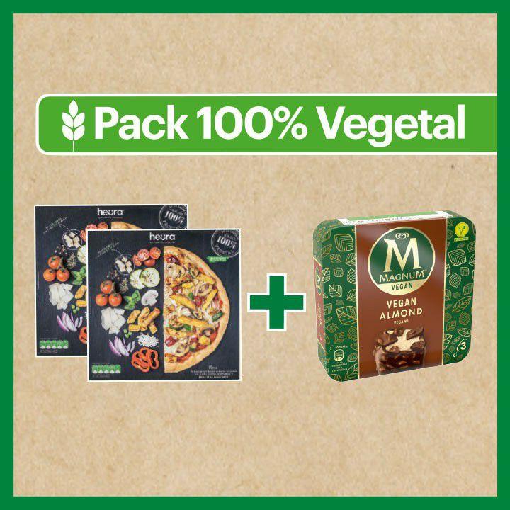 Pack 100% Vegetal formado por dos Pizzas Heura +pack de 3 Helados Magnum vegano Almendra