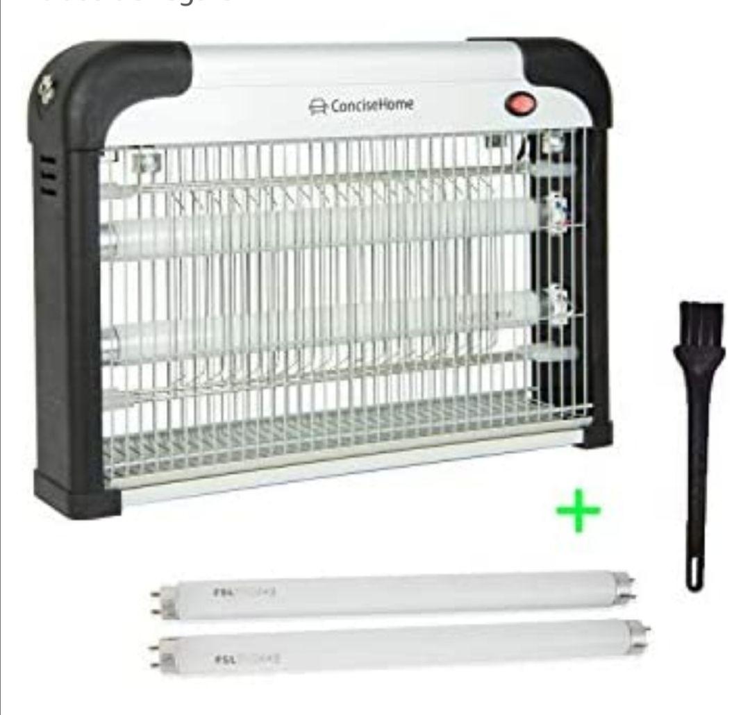 Concise Home and Insect Killer 20w luz UV atraer a Zap insectos voladores plata, con 2 tubos de regalo