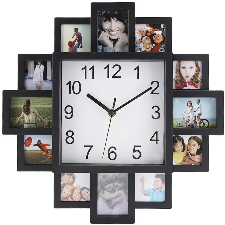 Reloj de pared cuadrado con 12 marcos para fotos