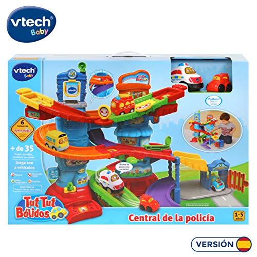VTech - Tut Tut Bólidos Central de policía, Playset interactivo con diferentes tramos y niveles de pistas