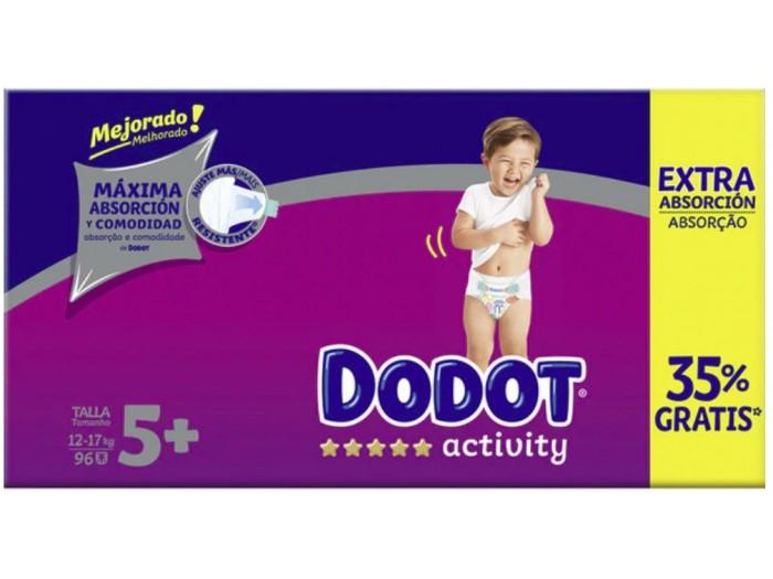 Pañales Dodot Activity Extra Absorción Talla 5+ de 12-17KG caja de 96 uds