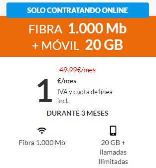 Fibra 1Gbps + Movil llamadas ilimitadas y 20Gb por 1€ al mes durante 3 meses