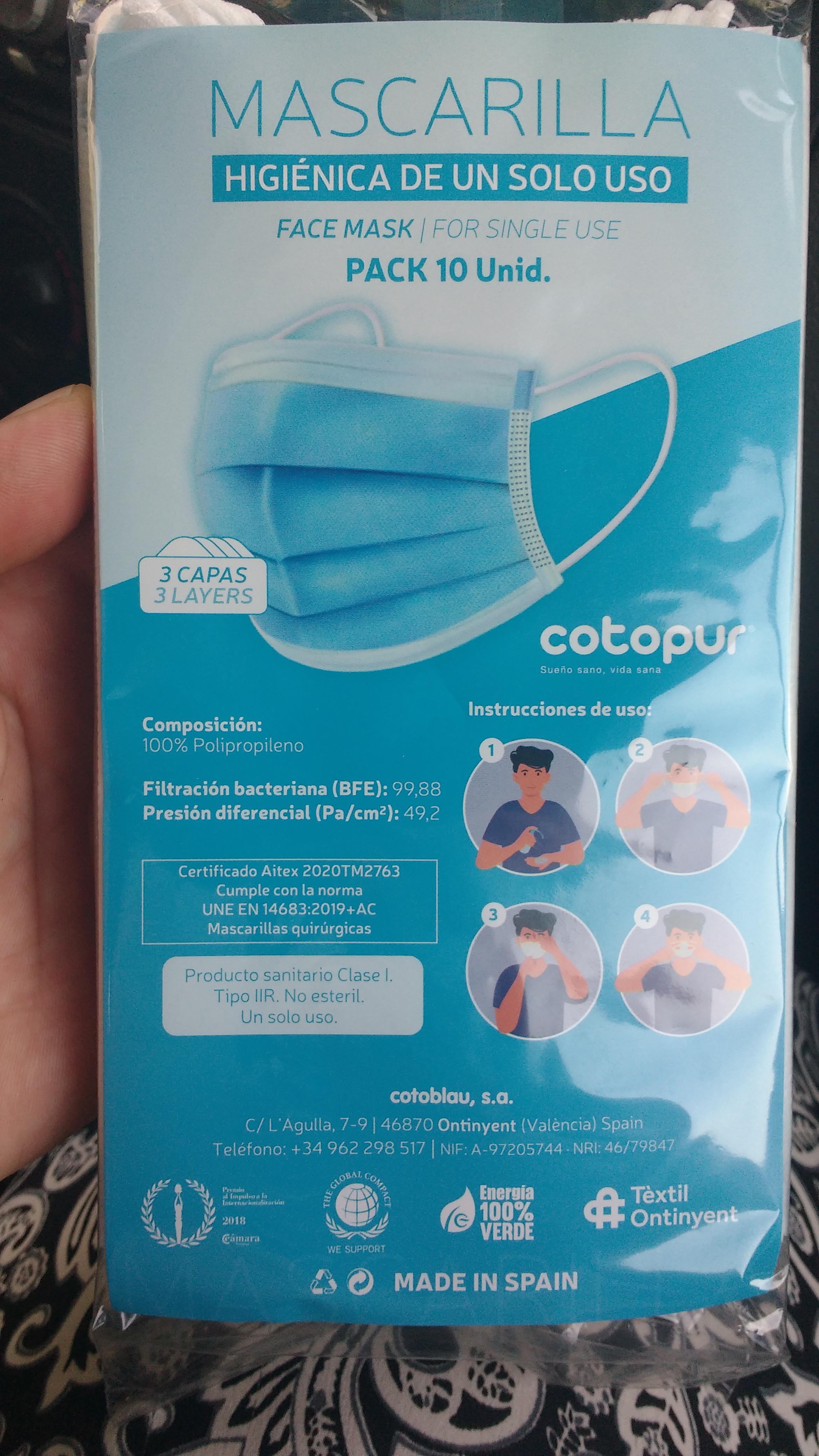 ESPAÑOLAS 10 mascarillas higiénicas 3 capas family cash,