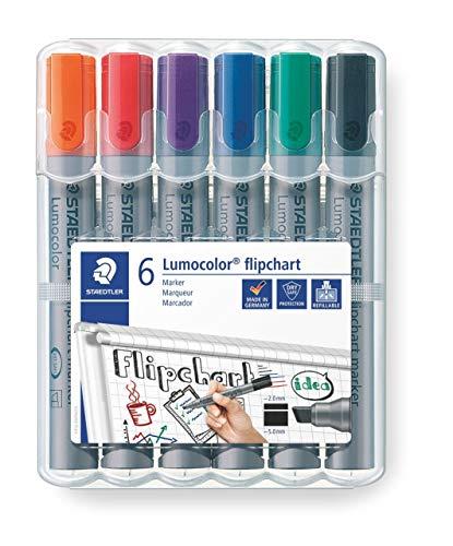 Estuche con 6 marcadores de colores variados.Rotuladores de colores para flipchart. Staedtler Lumocolor