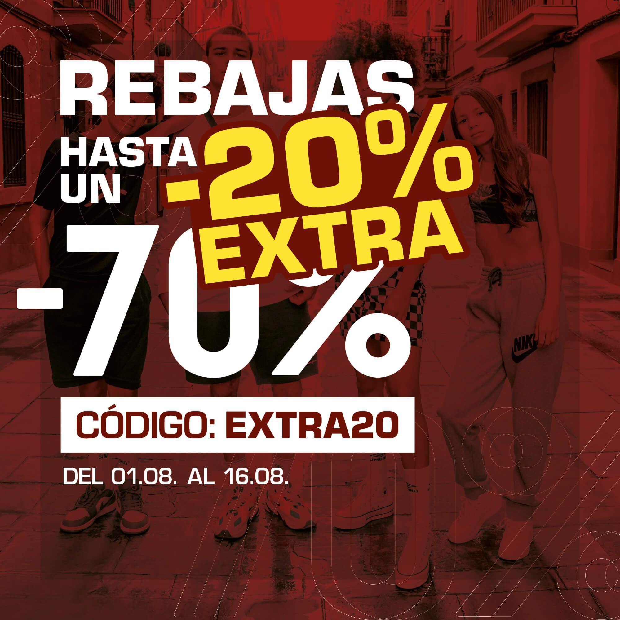 70% +20% EXTRA en Snipes