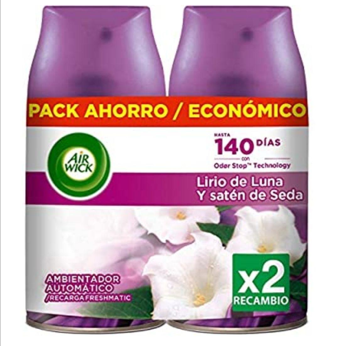 Air Wick Ambientador Freshmatic Recambio Duplo Lirio de Luna y Satén de Seda - 500 ml