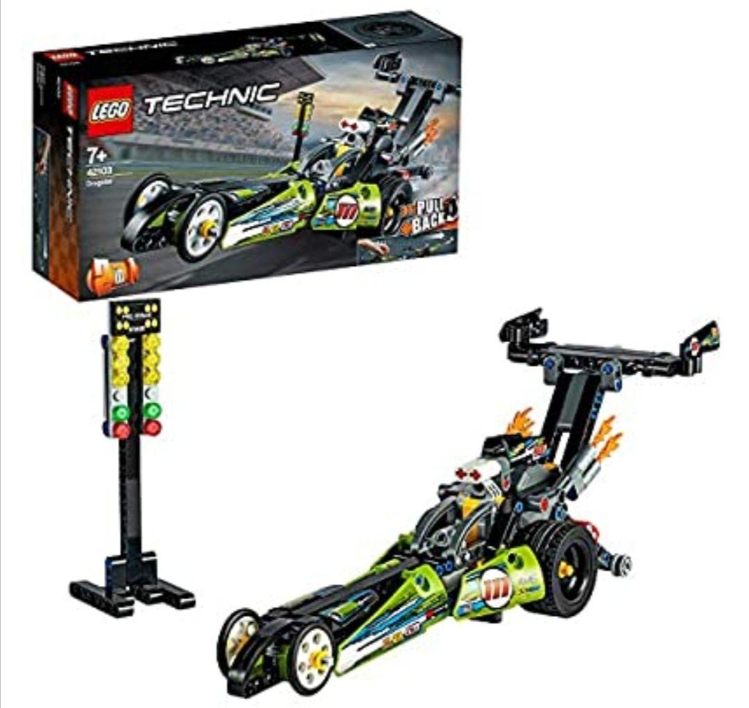 LEGO Technic - Dragster, Juguete de Construcción de Coche de Carreras con Motor Pull-back, Set 2 en 1