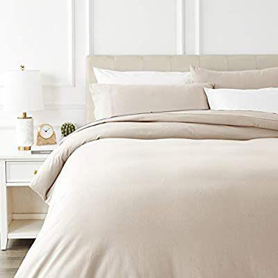 AmazonBasics - Juego de cama de franela con funda nórdica - 230 x 220 cm/50 x 80 cm x 2, COLOR TOPO
